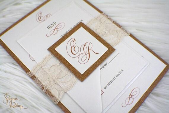 Vintage Glam Wedding Invitations: Vintage Glam Lace Wedding Invitation