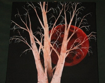 "Original ""Blood Moon and Aspens"" painting ~ Acrylic on Canvas"