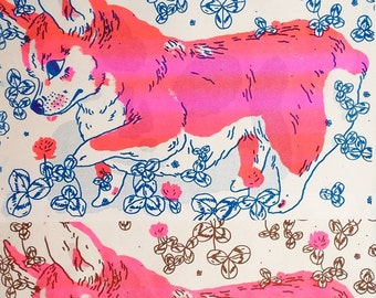 Pink and blue or Brown Corgi Poster
