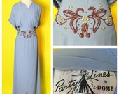 Vintage 1940s Emma Domb Party Lines Evening Gown Sequined and Studded Waist Plus Size XXL
