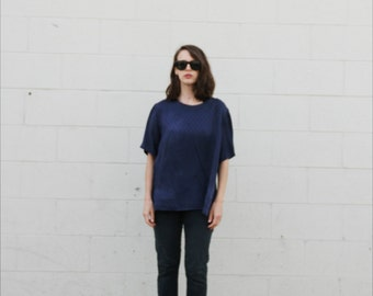 Navy silk subtle geometric pattern blouse. S/M
