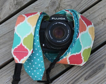 Monogramming Included Extra Long Camera Strap for DSL Camera Multi Lattice Print With Turquoise Reverse