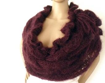 Knitted cape, Braid cape, Knit cape, Ruffled cape, Mohair capelet, Knit shoulderette, Knit stole, Mohair cape, Victorian cape