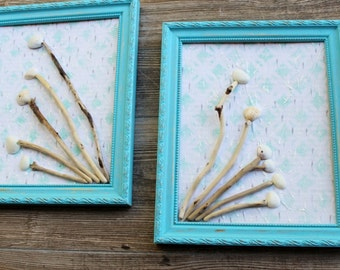 Beach Room Decor Turquoise Framed Driftwood & shell Art , Coastal Decorating , Nautical Wall Art