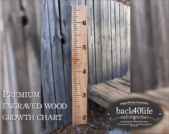 "Old school ruler growth chart - engraved lettering 60"" (GC-60Ruler)"