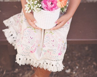 Girls dress - Boho Strappy Dress with Pink and Floral in Cream and Fringe Trim - by bitty bambu