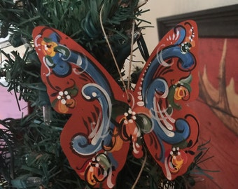 Norwegian rosemaled butterfly ornament choice of style