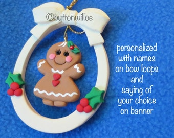 Little gingerbread girl dangling inside personalized oval with red and green Holly red crystal in hair bow
