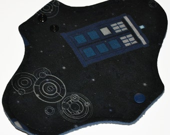 Liner Core- Blue Tardis Knit Reusable Cloth Pantyliner Pad- 8.5 Inches