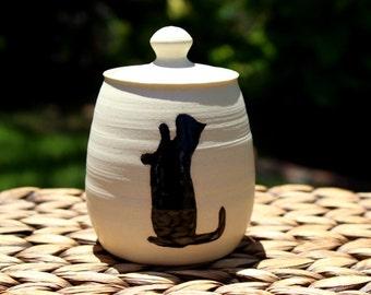 Ceramic CAT Covered Jar - Cream Handmade Porcelain Lidded Jar - Cat Treat Jar - Multipurpose Jar - Ready To Ship