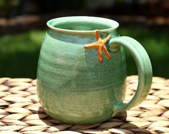Ceramic STARFISH Mug - Handmade Blue-Green Stoneware Coffee Mug - Sea Life Cup - Ready To Ship