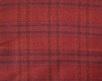 Red Plaid Wool Fabric Felted Wool Fabric- Wool Perfect for Rug Hooking, Applique and Crafts by Quilting Acres