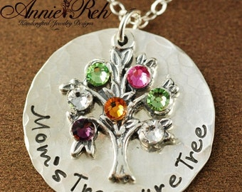 SALE Hand Stamped Mommy Jewelry, Mom's Tree - Hand Stamped Mommy Necklace - Tree of Life, Family Tree, Family - Mommy Necklace - Grandma Nec
