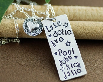 Hand Stamped Mommy Necklace | Personalized Mommy Jewelry | Family Necklace | Hand Stamped Jewelry | Gift for Mom | Name Jewelry