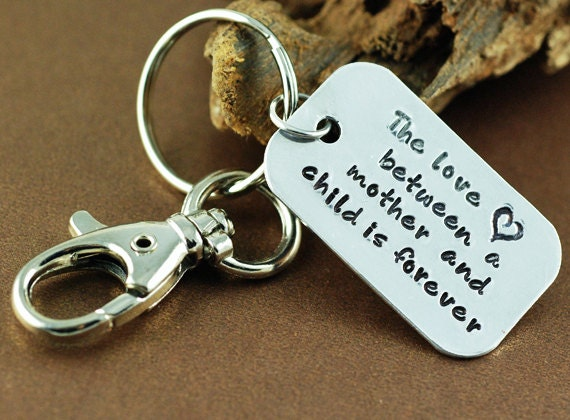 Personalized Key Chain - Hand Stamped Sterling Silver Key Chain - The love between a mother and child is forever