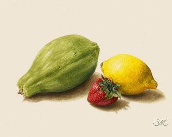 Papaya Lemon Strawberry Still Life | Kitchen Art | Small Art