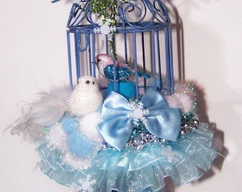 Birdcage, Home Decor, Holiday Decor, Blue, Ice, Snow, Winter, Snowbird, Ice Queen, Wintertime, Snowflake, Free shipping, Gift for Her, White