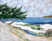 Impressionist Plein Air Oil Painting CALIFORNIA Monterey Bay Carmel Beach Pacific Ocean Seascape Landscape Art 16x20 Lynne French