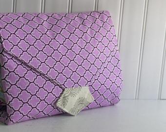 Purple Lattice Diaper Clutch - Ready to Ship