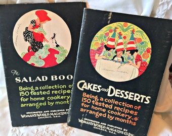 Vintage cookbooks, 1927 cookbooks Cake/Desserts book Salads Cookbook Woman's World Magazine hostess gift illustrated cookbooks retro cooking