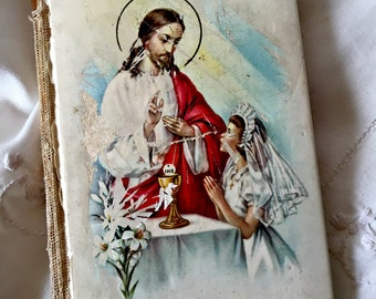 Vintage child's missal, St. Joseph missal, 1st communion book, confirmation book, celluloid missal, child's prayer book catholic missal book