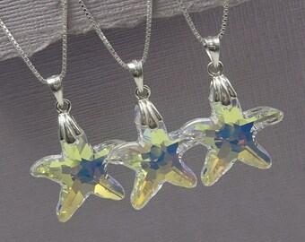 Starfish Necklace, Swarovski Crystal Starfish Necklace, Flower Girl Necklace, Sea Star Necklace, Beach Wedding Necklace, Bridesmaid Gift