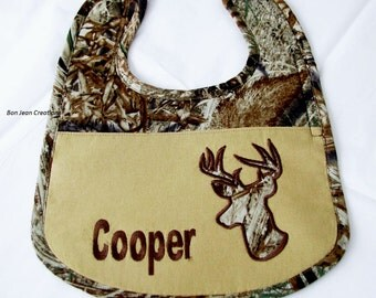 Personalized Appliqued Camo Bib for Baby Boy