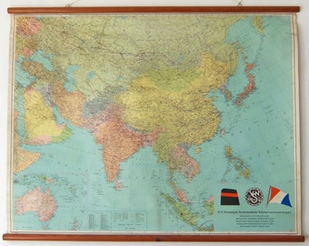 Vintage Pull Down Chart, east world map for The United Dutch Shipping Company early 60tees