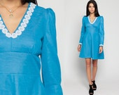 70s Boho Dress Babydoll Puff Sleeve 60s Mod Mini Lace Trim Blue 1960s Deep V Neck Vintage Empire Waist Bohemian Dolly Lolita Medium