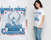 LA Dodgers Shirt Baseball T Shirt WORLD SERIES 1988 Champions TShirt Sports Retro Graphic Burnout Thin Vintage 80s Short Sleeve Tee Medium