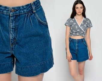 Levis Denim Shorts MOM Shorts High Waisted Jean Wide Leg 80s Grunge Baggy 90s Hipster 1980s Vintage Pleated Blue Small