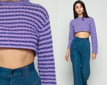 Retro Shirt Mod Top 70s Striped TURTLENECK Long Sleeve Shirt Tee Crop Top Nerd Geek Hipster Tshirt Cropped High Neck Purple Small Medium