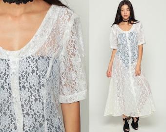Sheer LACE Dress White 90s Maxi Grunge Boho Long Button Up 1990s Vintage Bohemian Party Gypsy Wedding Drape Short Sleeve Extra Large xl