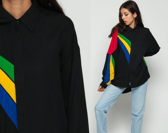 Color Block Shirt 80s Grunge Black Striped SUNBEAM Oversized Button Up Red Blue Yellow Print Collar Vintage Long Sleeve Medium Large