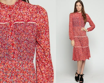 Floral Dress Midi Bohemian Button Up 70s Boho Vintage PRAIRIE Smocked Calico Print High Waisted Long Sleeve 1970s Bohemian Red Small