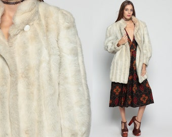Faux Fur Jacket 80s FUZZY Coat Vegan Vintage 70s Bohemian Grey Chunky Animal Winter Striped Mod 1980s Bohemian Hipster Boho Large
