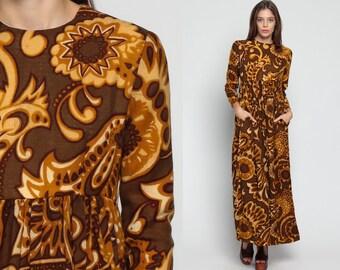 Psychedelic Dress 70s Maxi WOOL Hippie Boho 60s Mod PAISLEY Print 1970s Vintage Bohemian Long Sleeve Empire Waist Brown Orange Small