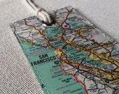 San Francisco & Oakland original vintage map luggage tag