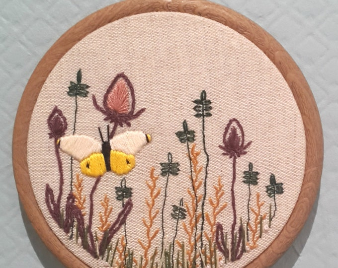 Hand Embroidered Butterfly/Flower hoop