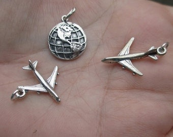Sterling Silver World Charm or Airplane Charm