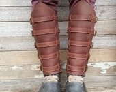 Steampunk Peaked Brown Leather Shin Guards, Shinguards or Gaiters with Antique Brass Hardware for Men or Women