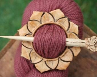 Juniper Lotus Shawl Pin - Handmade Wooden Shawl Pin in Reclaimed Wood - Eco Knitting Supplies