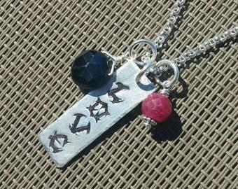 Stamped Necklace, Love Necklace, Black Spinel and Ruby Necklace, Sterling Silver Necklace, Stamped Jewelry, Tag Necklace, Handmade Custom