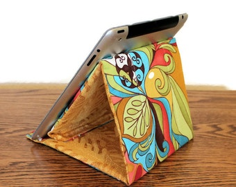 Tablet Stand, Gadget Support, Padded Stand, Retro Hippie Spirit Cotton Fabric. Tech Support Triangle, iPad Stand, Folds Flat!