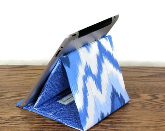 Tablet Stand, Gadget Support, Padded Stand,Blue Wave Cotton Duck Fabric. Tech Support Triangle, iPad Stand