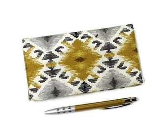 Southwest Checkbook Cover for Duplicate Checks with Pen Holder, Geometric Mill Creek Upholstery Weight Cotton Fabric, Gray, Gold, Ivory