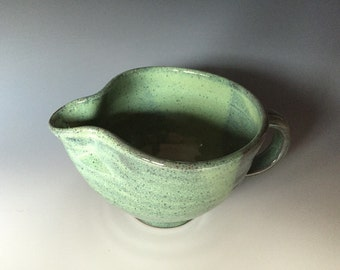 Small Turquoise Green Stoneware Batter Bowl