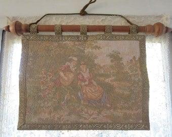 Vintage 1940s Small Troubadour Romantic Woven English Tapestry Gold Metallic Trim Original Wood Hanger