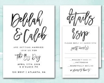 Printable Wedding Invitation, Wedding Invitation, Wedding Invite, Script Wedding Invitation Printable, Printable Invitation Suite Set