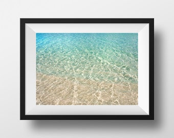 abstract photography, Carribean photo, water, nature photo, blue, tan, green, beach, sand